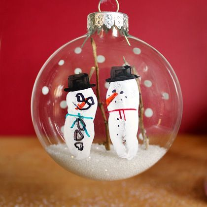 Fingerprint Snowman Glitter Ornament | Spoonful