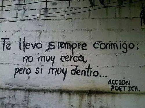 """""""Te llevo siempre conmigo; no muy cerca, pero sí muy dentro..."""" #love #amor #frasesDeAmor http://www.unpedacitodecielo.com/frases-de-amor/"""