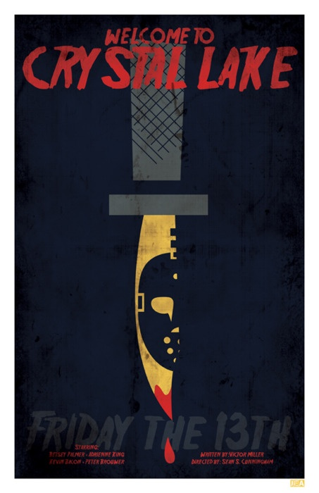 Minimal Movie Posters - Friday the 13th byJon E. Allen  For salehere