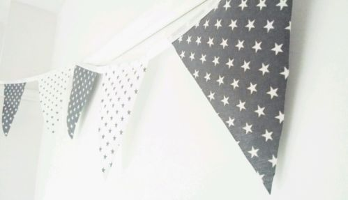 eBay 3 metres handmade bunting grey and white stars £5