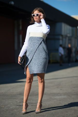 Chic is always in. See this color blocked dress and other styles from NYFW here: