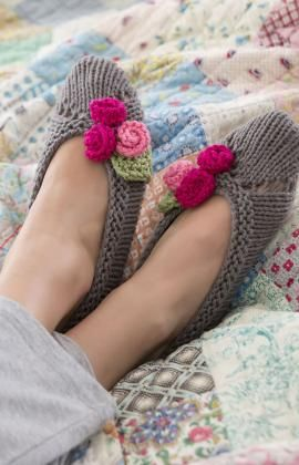 """Slippers for Her"" free knitting pattern for beautiful ballet slippers."