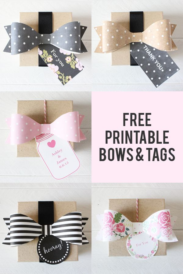 Free printable wedding tags and bows in whimsical botanical print