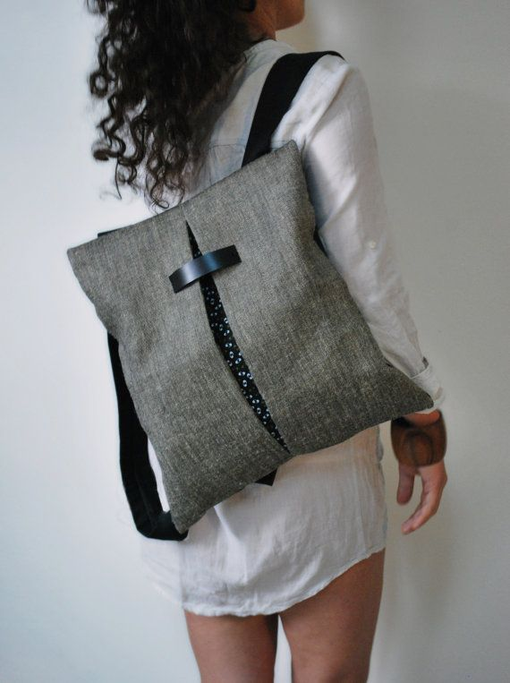 Unique design backpack & messenger bag Gray Jute bag Black canvas Cotton fabric Handmade women bag Stylish Stylish College bag Gift for her