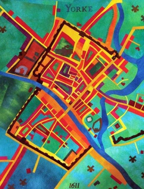 A colourful quilt map of York created by Alicia Merrett