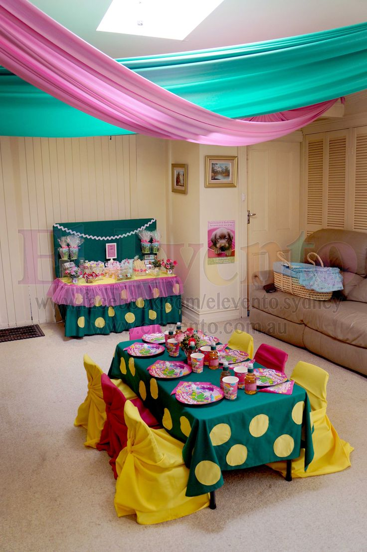 The whole set-up we did for a cute Dorothy the Dinosaur themed birthday party! We offer personalised kids tables, chair covers, candy bars, and everything you can think of! Our new Mini-Me Candy Bars are perfect for kids under 4, they can treat themselves to all kinds of delicious treats. We set-up a Dorothy Tea Party for the birthday girl and her friends, have a look at our Facebook to see details and more pics! #sydney #eventplanner #dorothy #elevento #kidsparty #cute