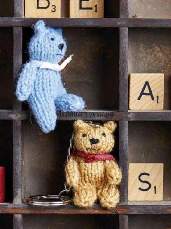 Маленький мишка вязаный спицами (mini teddy knitting)