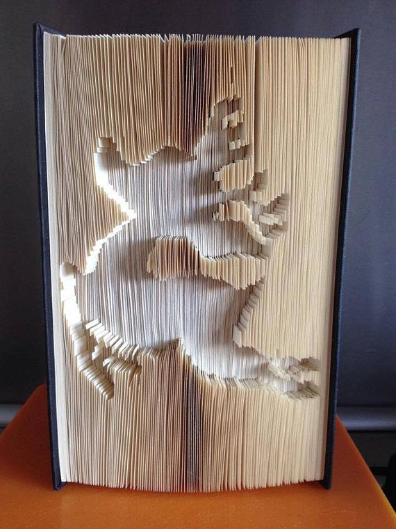 Cut And Fold Book folding pattern of rudolph . Full by BookArtCo