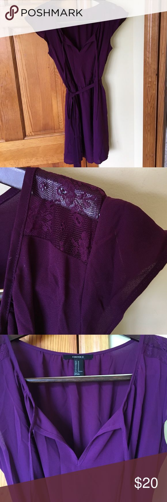 Purple casual dress. This purple dress was worn once! The dress is belted and has lace capped sleeves. Forever 21 Dresses Mini