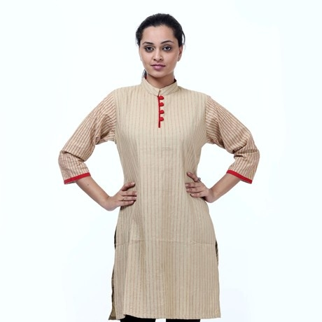 Shree kurti with vertical stitch detailing on front- A classic bandhgala kurti from SHREE with vertical stitch detailing on front to add an illusion of length.