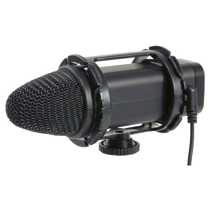 Smith-Victor Stereo Condenser Microphone with Low Signal to Noise Ratio - Black (SV-SM1)