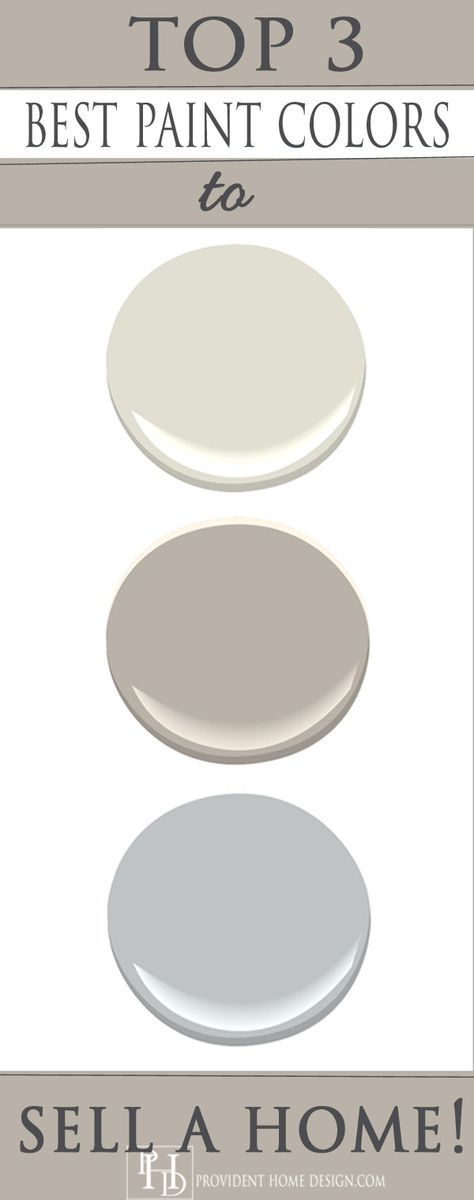 Best three paint colors to use to sell your home from a staging expert: Benjamin Moore's Halo (off white), Silver Fox (kind of a gray-beige), and Eternity (glue gray). But selling a home or not, these are just plain pretty colors.