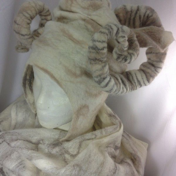 felted horned headdress and shawl