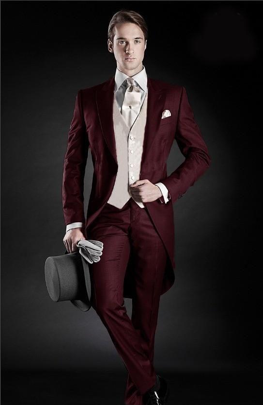 2015 Morning Style Groom Tuxedos Peak Lapel Men's Suit Burgundy Groomsman/Best Man Wedding/Dinner Suits(Jacket+Pants+vest+tie)