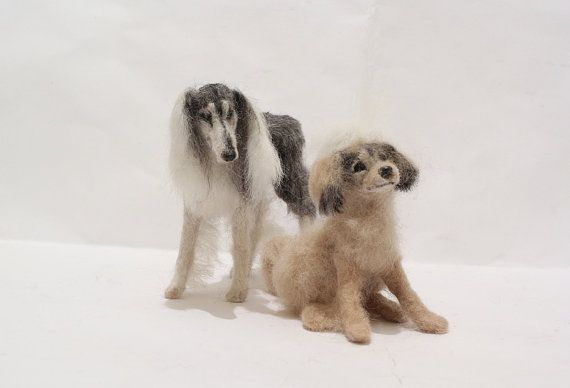OOAK Miniature Saluki Dog Arabian Greyhound mom & by malga1605