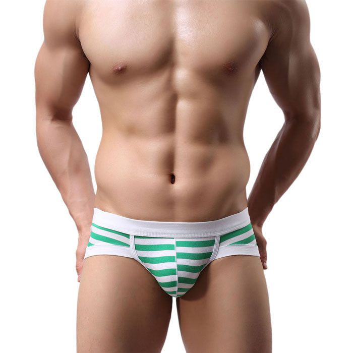 Newly Design Men's Sexy Stripe Cotton Underwear shorts men underpants Gay Soft…
