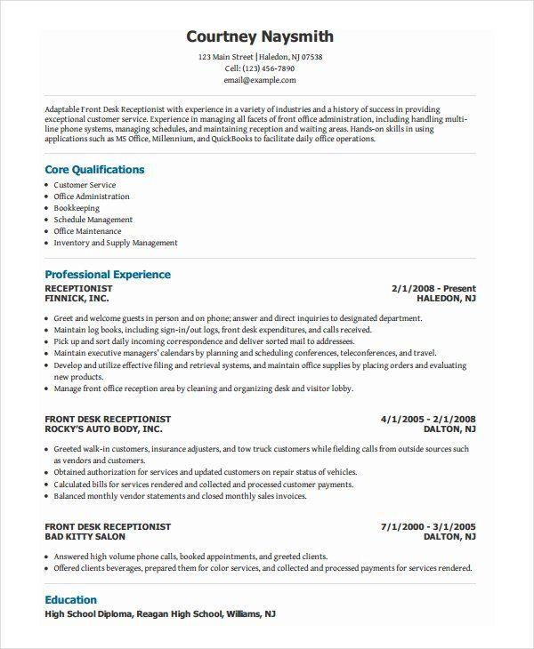 Receptionist Job Resume Samples Resume Examples Receptionist Jobs