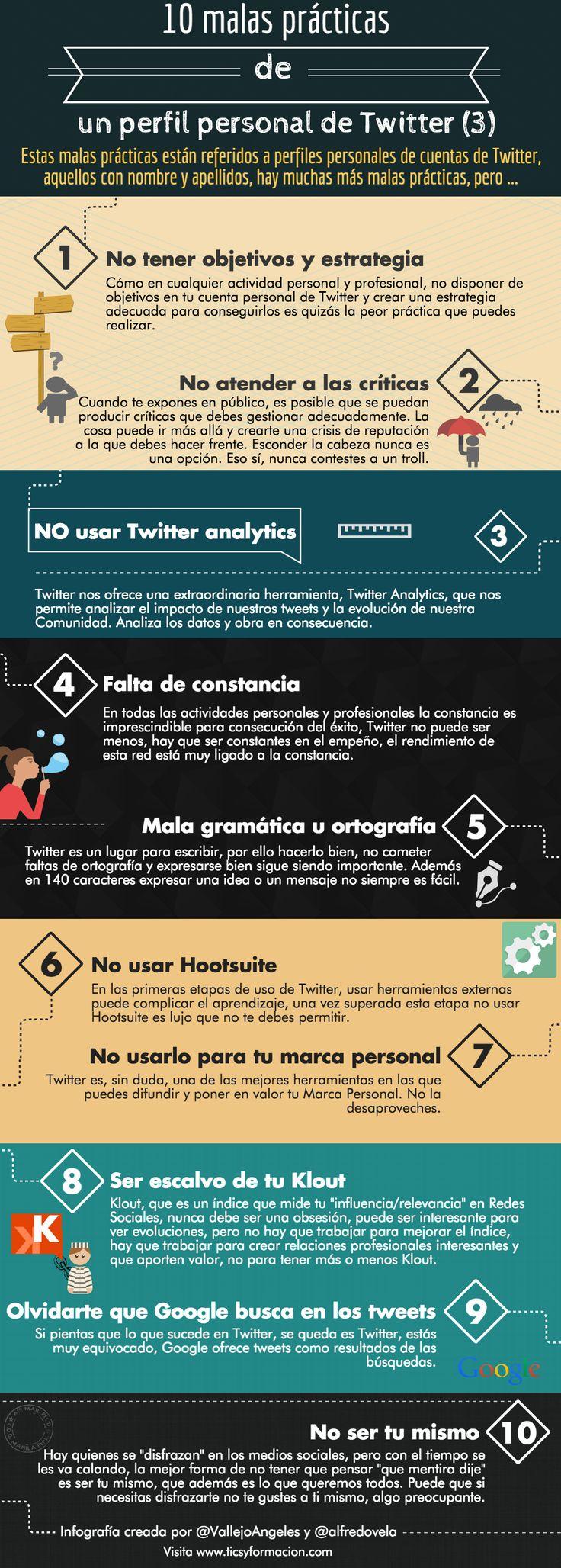 10 malas prácticas de un perfil personal de Twitter (III). #Infografía