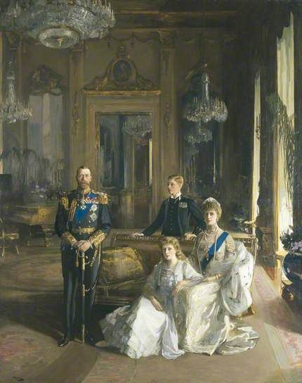 The Royal Family at Buckingham Palace, 1913 (King George V; Princess Mary, Countess of Harewood; Edward, Duke of Windsor; Queen Mary) by John Lavery    Date painted: 1913