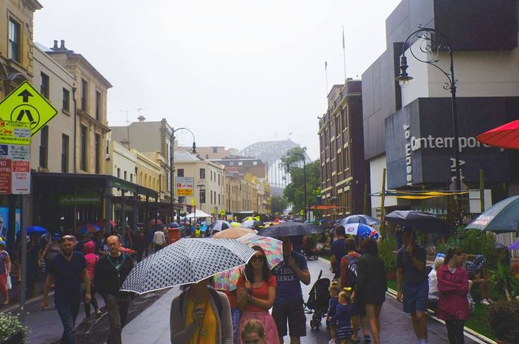 Australia Day in Sydney, 2015, rain coming down on George Street in The Rocks.