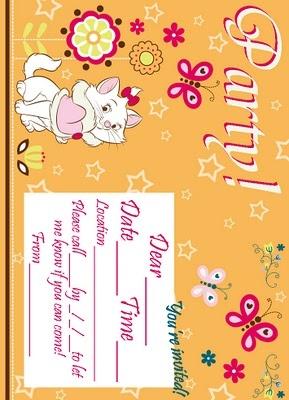 Free printable Marie birthday party invitations