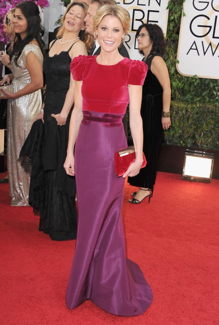 It's possible Julie Bowen thought she was getting dressed up for her high school prom -- not the Golden Globes -- when she put on this poofy pink velvet dress by Carolina Herrera. Are those shoulder pads?!