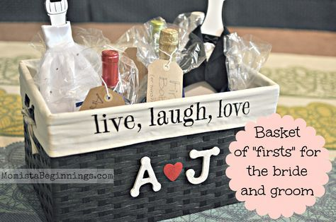 """Basket of """"firsts"""" bridal shower gift. This idea includes THONGS! All poems are included and the details on how to make this fabulous gift! -Momista Beginnings"""