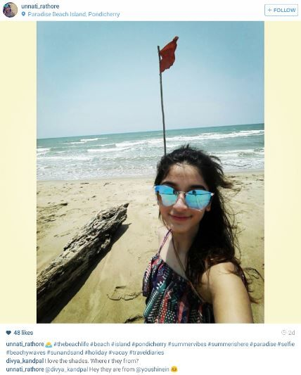 Our lovely customer unati rathore enjoying her vacation in pondicerry in blue mirrored sunglasses. #instagrammer #lovelycustomer #blueshades  Shop this look here >> http://buff.ly/1IzWvEY