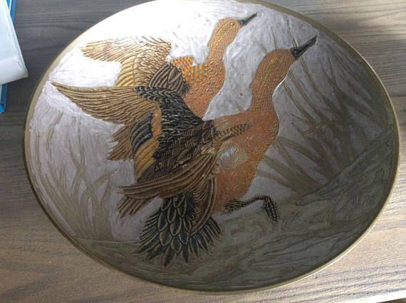 Vintage brass enameled bowl birds boho decor India fruit
