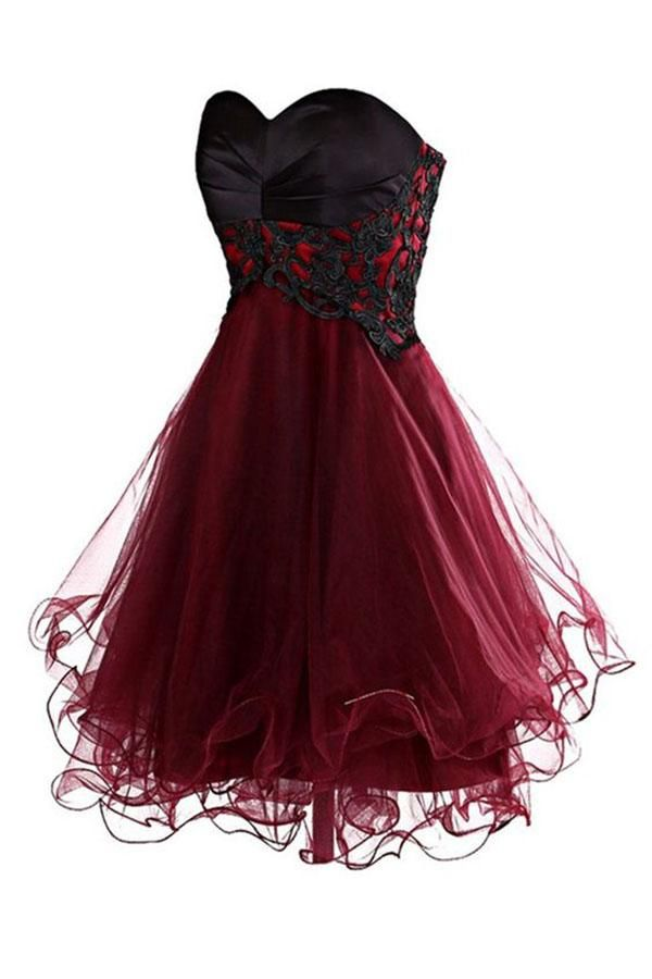 8dc6382c1 Lovely Cute Appliques Burgundy Sweetheart Organza Lace up Short Homecoming  Dress PH689