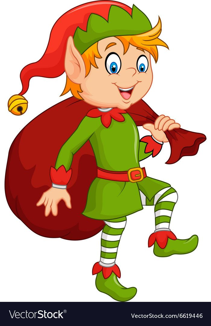 Cartoon Cute Elf With Sack Royalty Free Vector Image Christmas Yard Art Christmas Stencils Holiday Woodworking Projects