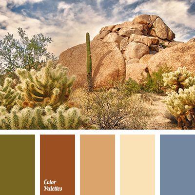 beige, brown, color of desert, color of sand, color of sky, dark-blue, dirty dark blue, dirty olive green, gray dark blue, green, khaki, light beige, light yellow, olive-green, red-brown, sand, shades of brown.