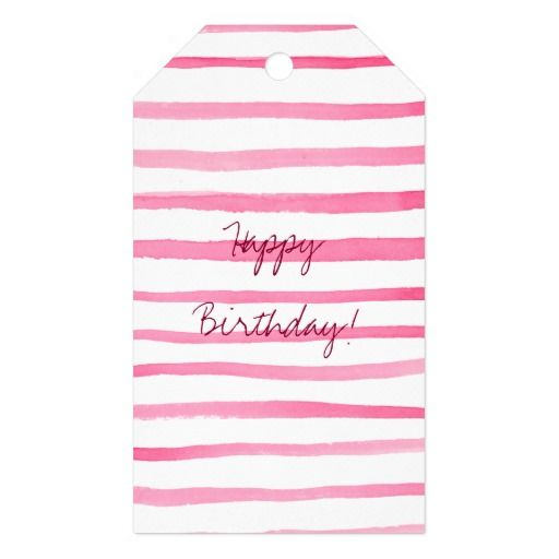 Marine Red and White Stripe Watercolor Gift Tag