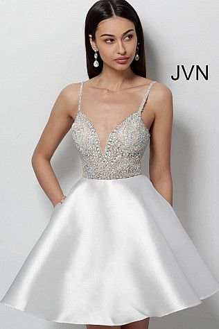 760397884eb White Fit and Flare Embellished Bodice Short Dress JVN53168  JVN  Homecoming   shortdress  cocktaildress  party  collection2018