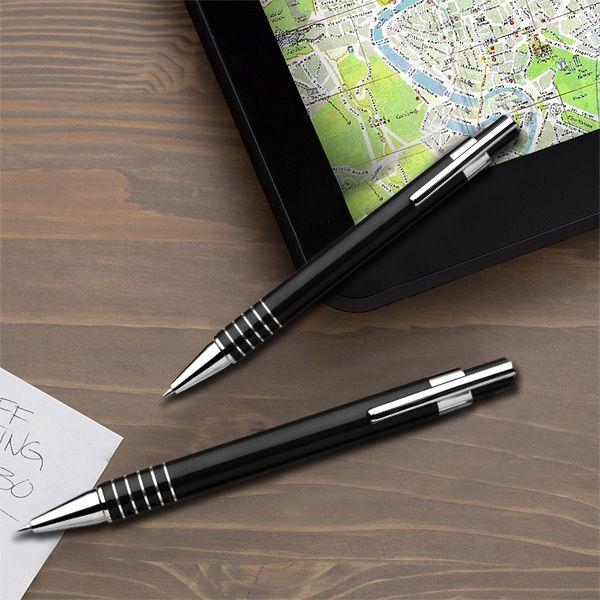 Fém gravírozott tollkészlet dobozban - fekete
