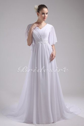 A-line V-neck Sweep Train Half Sleeve Chiffon Wedding Dress - $122.99
