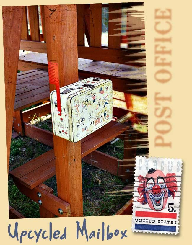 vintage lunchbox becomes mailbox for kids' backyard playset