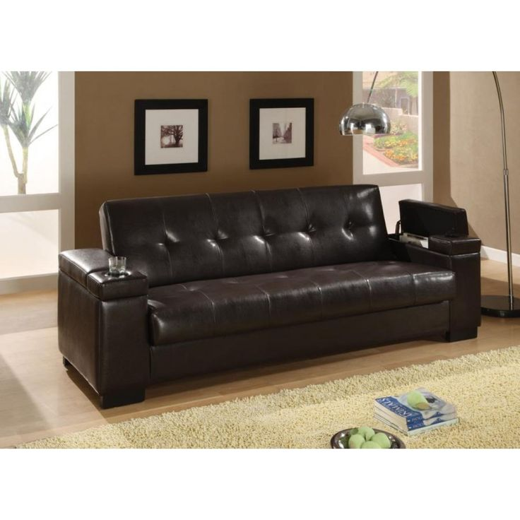 coaster brown vinyl sofa bed cup holders and storage in arm rests be sure to check out this awesome product