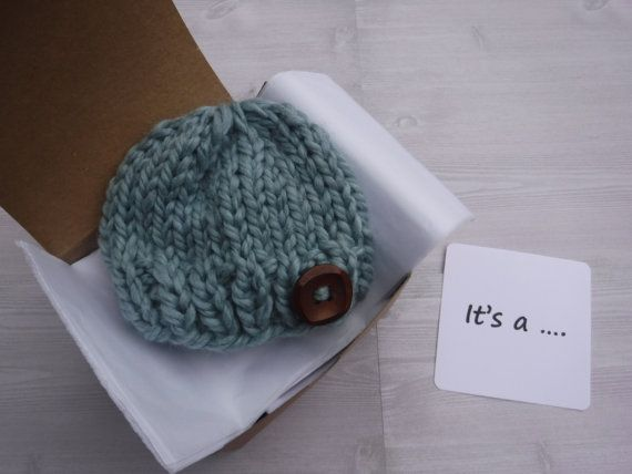A cute way to announce your pregnancy / baby news to grandparents, husband, friends. Gender reveal. December Christmas baby. Hat in a box knit announcement. It's a boy