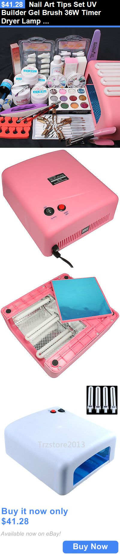 Nail Art Accessories: Nail Art Tips Set Uv Builder Gel Brush 36W Timer Dryer Lamp Decoration Tools Kit BUY IT NOW ONLY: $41.28