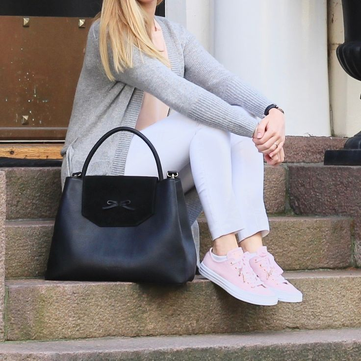 Waiting for the winter wearing this cozy fall outfit<3 A long grey cashmere cardigan with white jeans and a pink silk top. Added a pair of pink suede converse, and my byDANSTI satchel. Love the suede flip with the sweet bow detail.