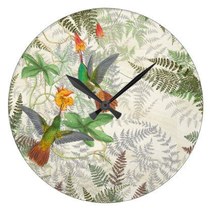 Hummingbird Birds Wildlife Fern Flowers Wall Clock - animal gift ideas animals and pets diy customize