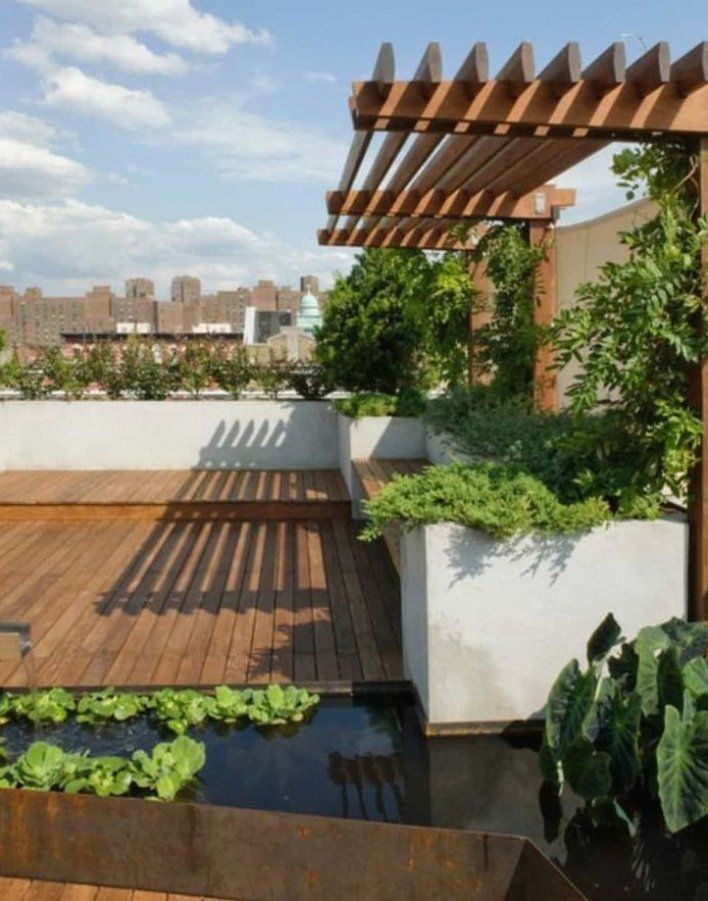 Terrace Garden With Concrete Planters And Arbor Wonderful Roof Terrace Garden Terracedesign Te In 2020 Roof Garden Design Roof Terrace Design Outdoor Patio Designs