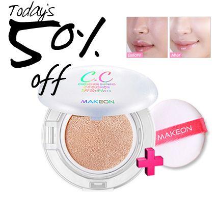 Today's 50% Sale! Express moist, shiny and moist glow CC cushion! SPF50+ / PA+++ Whitening + Anti-wrinkle + Sun block Triple functionality $19 -> $10