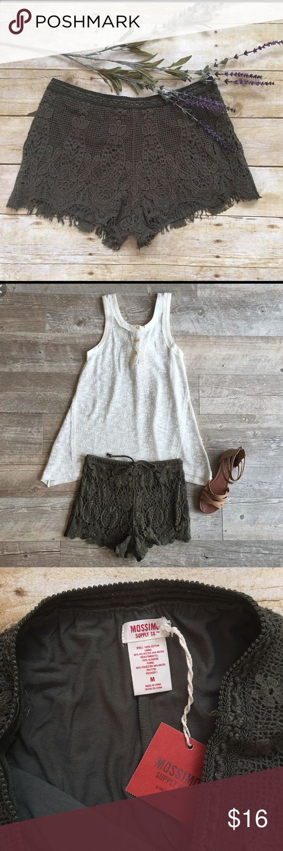 MOSSIMO Olive Green Crochet Shorts Delicate and Sweet Olive green Crochet shorts with elastic waist band and lined! Pull on style. 3.5in length. A seriously cute summer staple! New with Tags! (Second image is a styling image not of actual shorts. )💕 Mossimo Supply Co Shorts