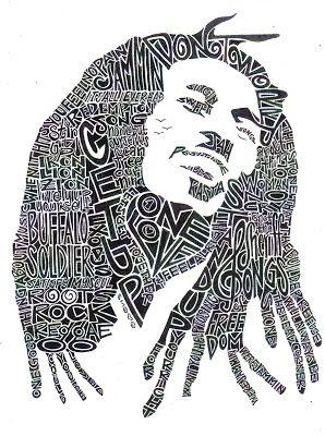 Retratos de Jimi Hendrix y Bob Marley en letras | La Guarida Geek