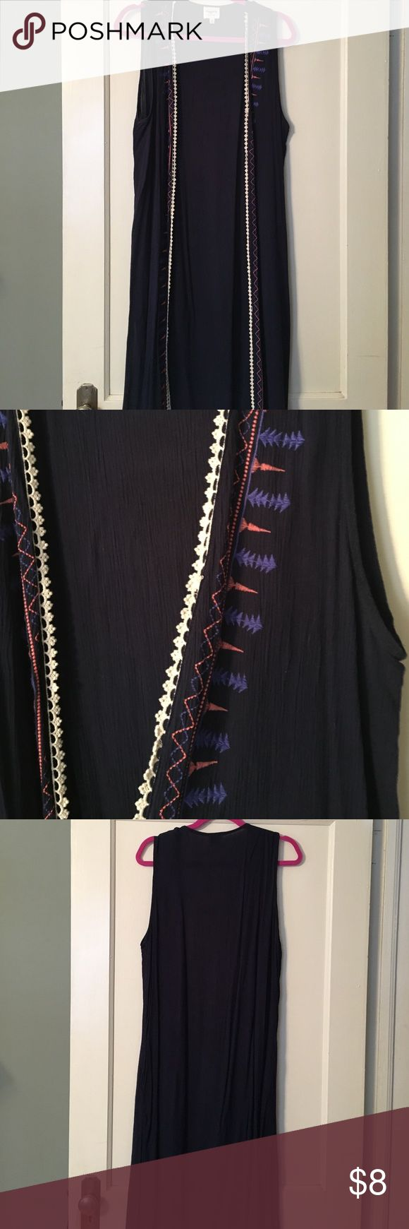 Long Navy Vest/Kimono Long Navy Vest/Kimono Tops