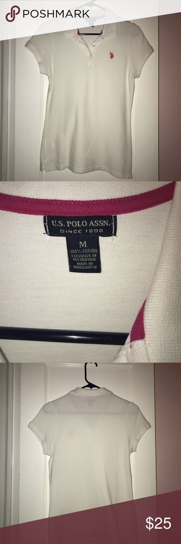 White and pink polo shirt white and pink polo baddie shirt NEVER USED Polo by Ralph Lauren Tops
