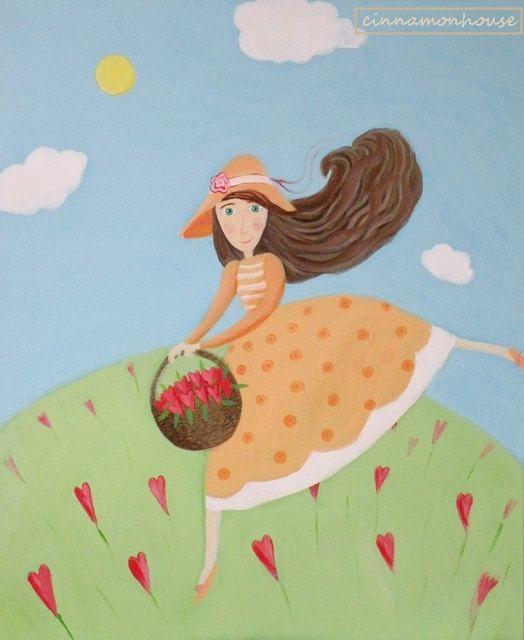 GARDENER acrylic painting. Beautiful  one on by cinnamonnhouse