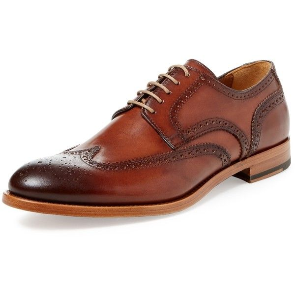 Antonio Maurizi Men's Wingtip Derby - Brown, Size 42.5 ($179) ❤ liked on Polyvore featuring men's fashion, men's shoes, men's oxfords, brown, mens brown derby shoes, mens brown wingtip shoes, mens shoes, men's blucher shoes and mens lace up shoes
